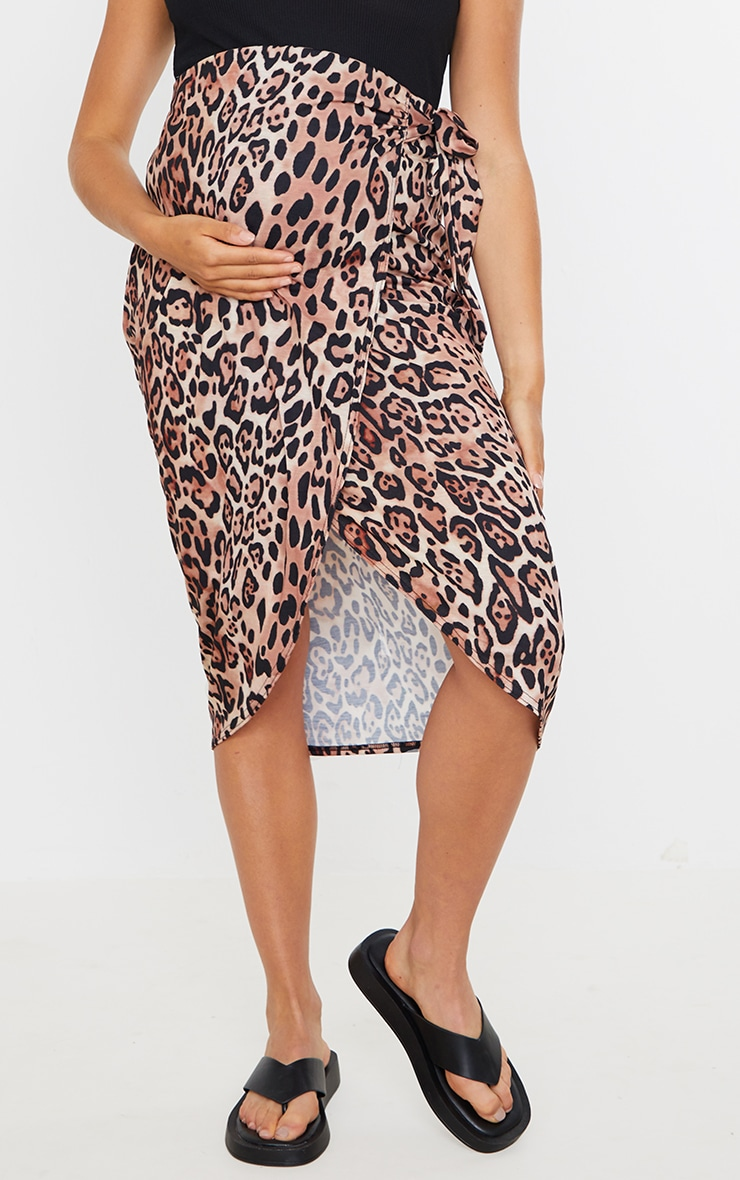 Maternity Brown Leopard Wrap Over Midi Skirt 2
