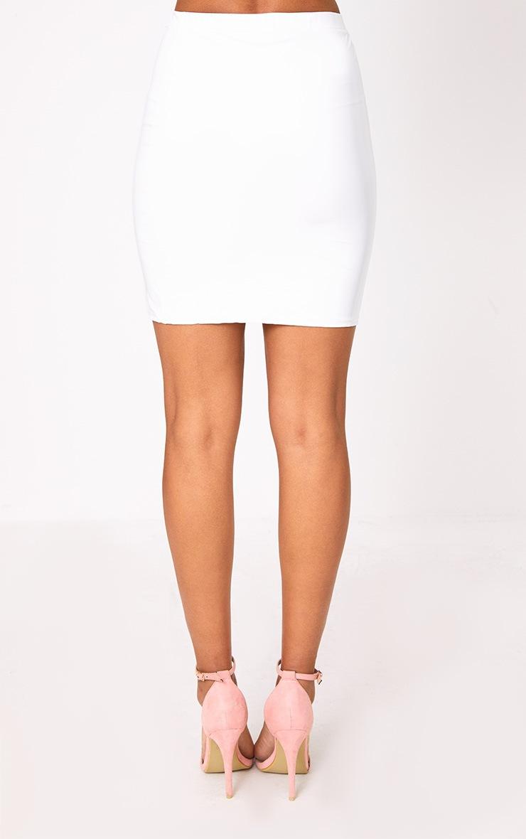 White Vinyl Side Split Mini Skirt 4