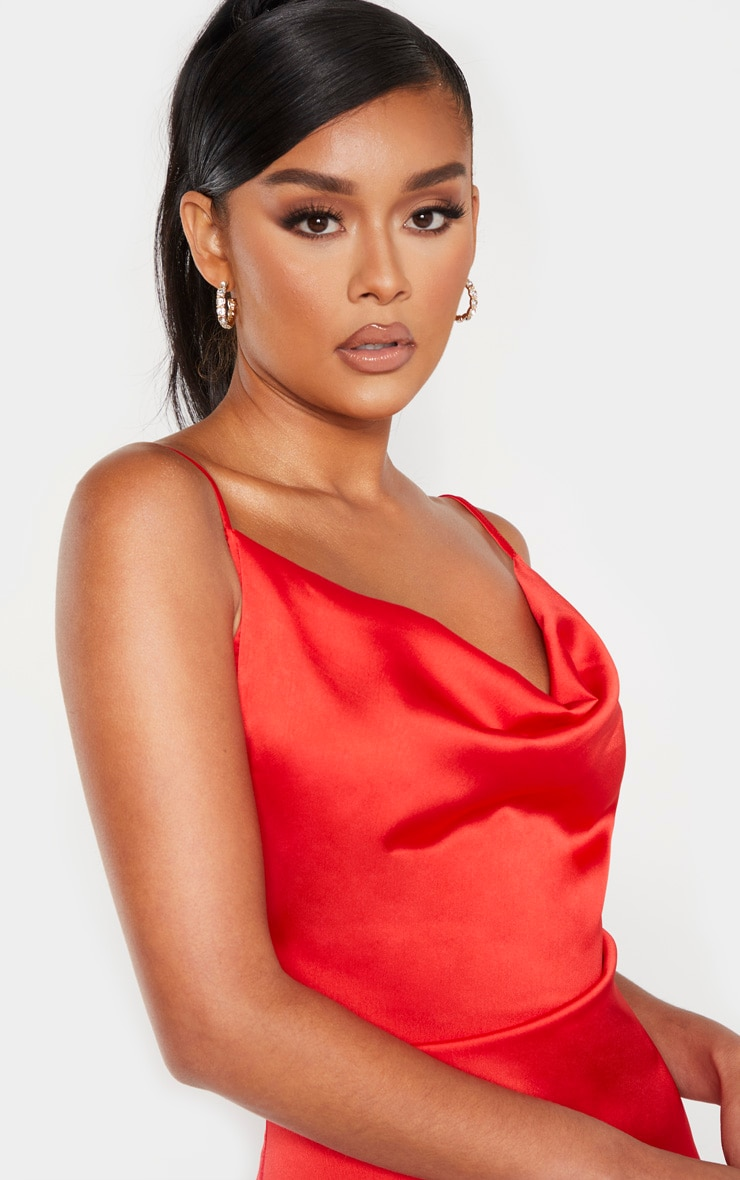 Red Strappy Satin Cowl Midi Dress