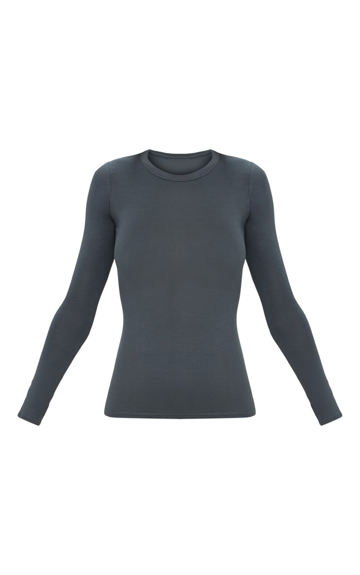 Basic Grey Long Sleeve Fitted T Shirt  3