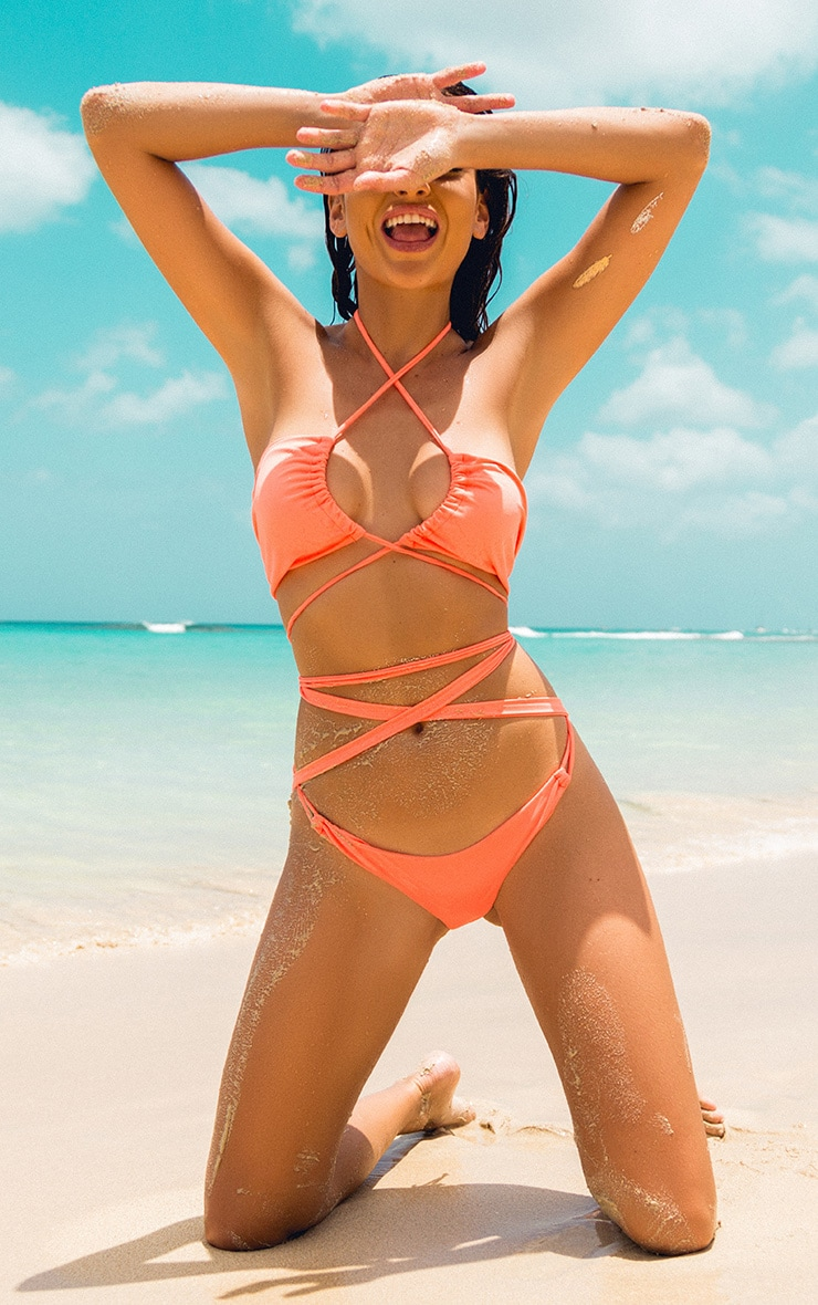 Kaytie Neon Orange Multi Strap Bikini 1