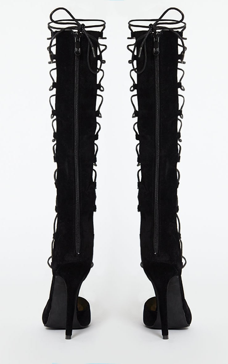 Reena Black Suede Pointed Strappy Knee High Heels 6