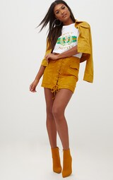 a8580c205fa Mustard Faux Suede Lace Up Mini Skirt image 5