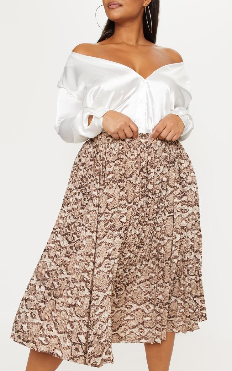 Plus Taupe Snake Print Pleated Midi Skirt 6