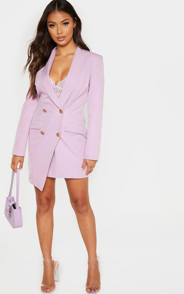 Petite Lilac Button Woven Blazer Dress 4