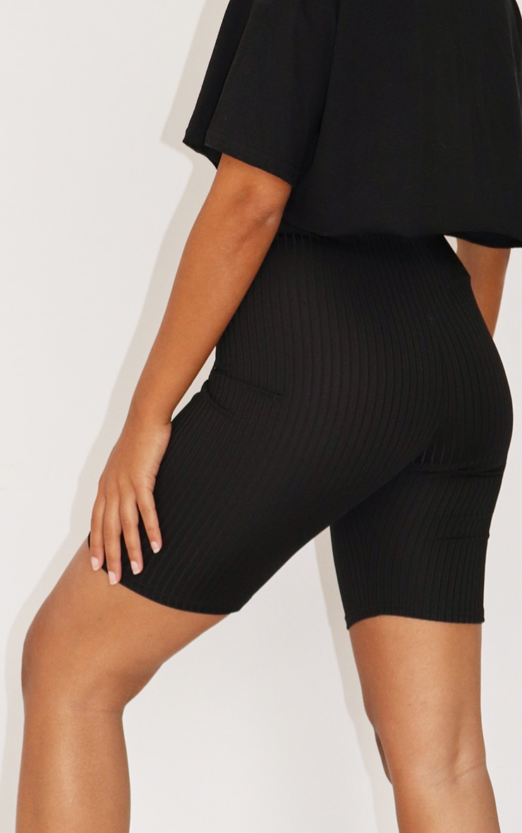 Petite Black Ribbed Cycle Short 3