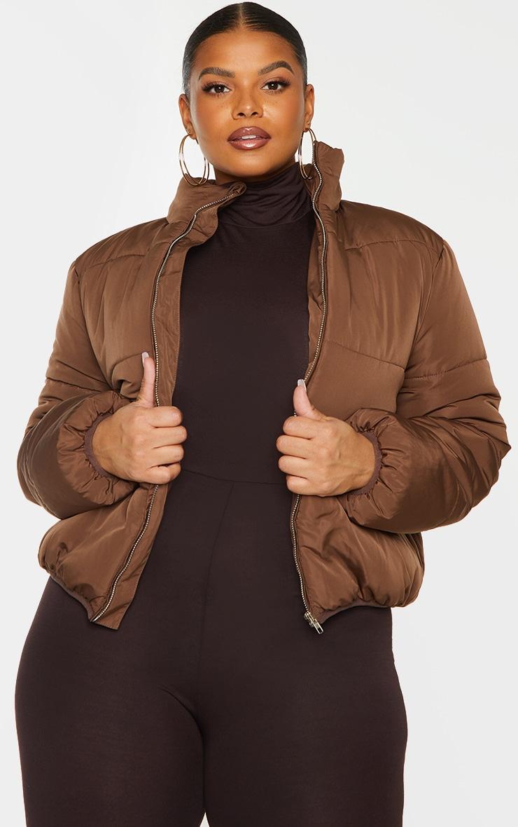 Plus Chocolate Brown Collar Detail Puffer Jacket 1