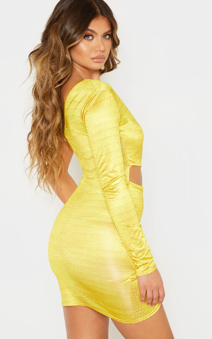 Yellow Croc Print One Shoulder Cut Out Bodycon Dress 2