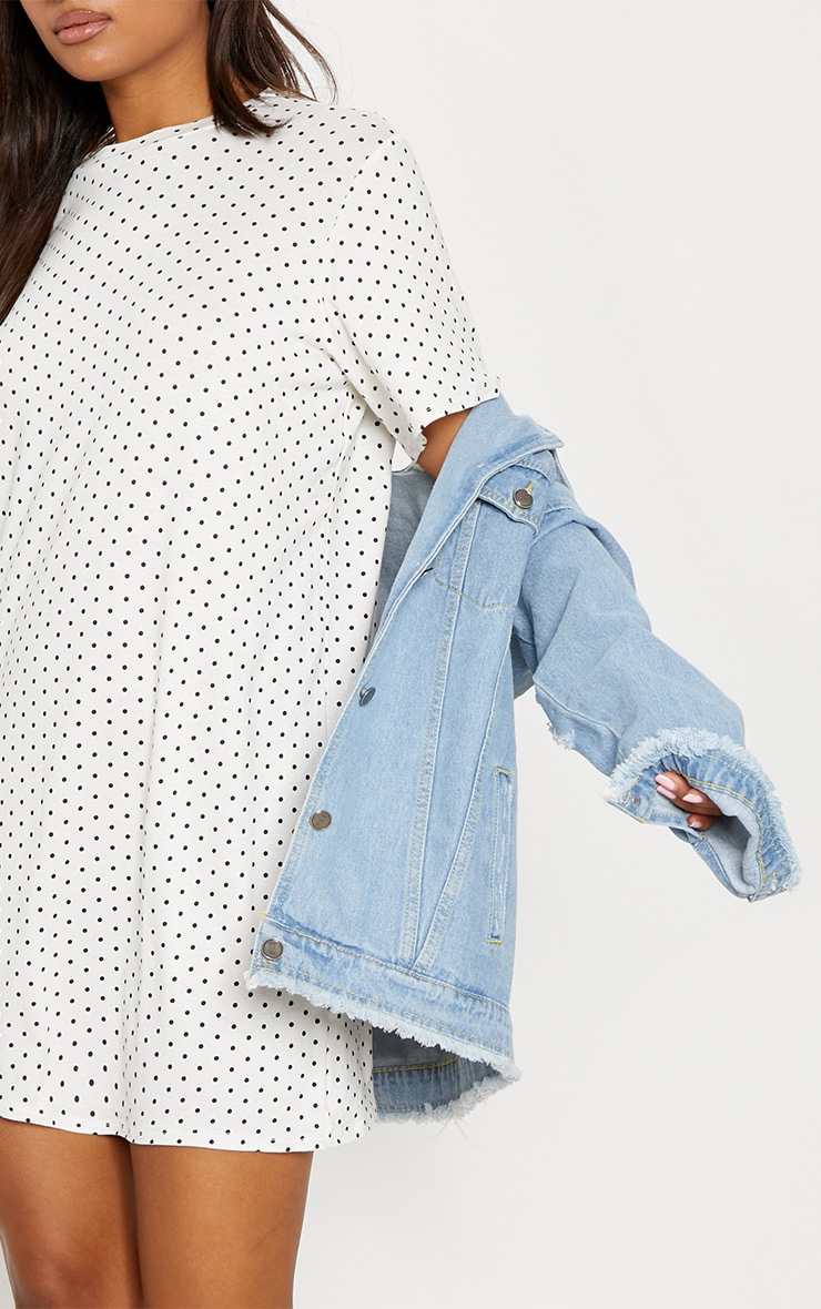 White Polka Dot Oversized T Shirt Dress 5