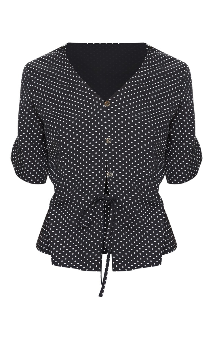Black Polka Dot Button Front Blouse 3