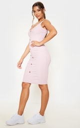 Dusty Lilac Ribbed Scoop Tortoise Shell Button Bodycon Dress 4