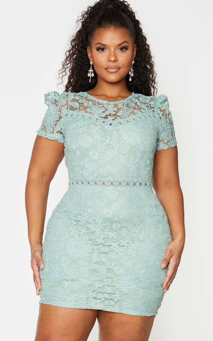 Plus Green Lace Backless Cap Sleeve Bodycon Dress 1