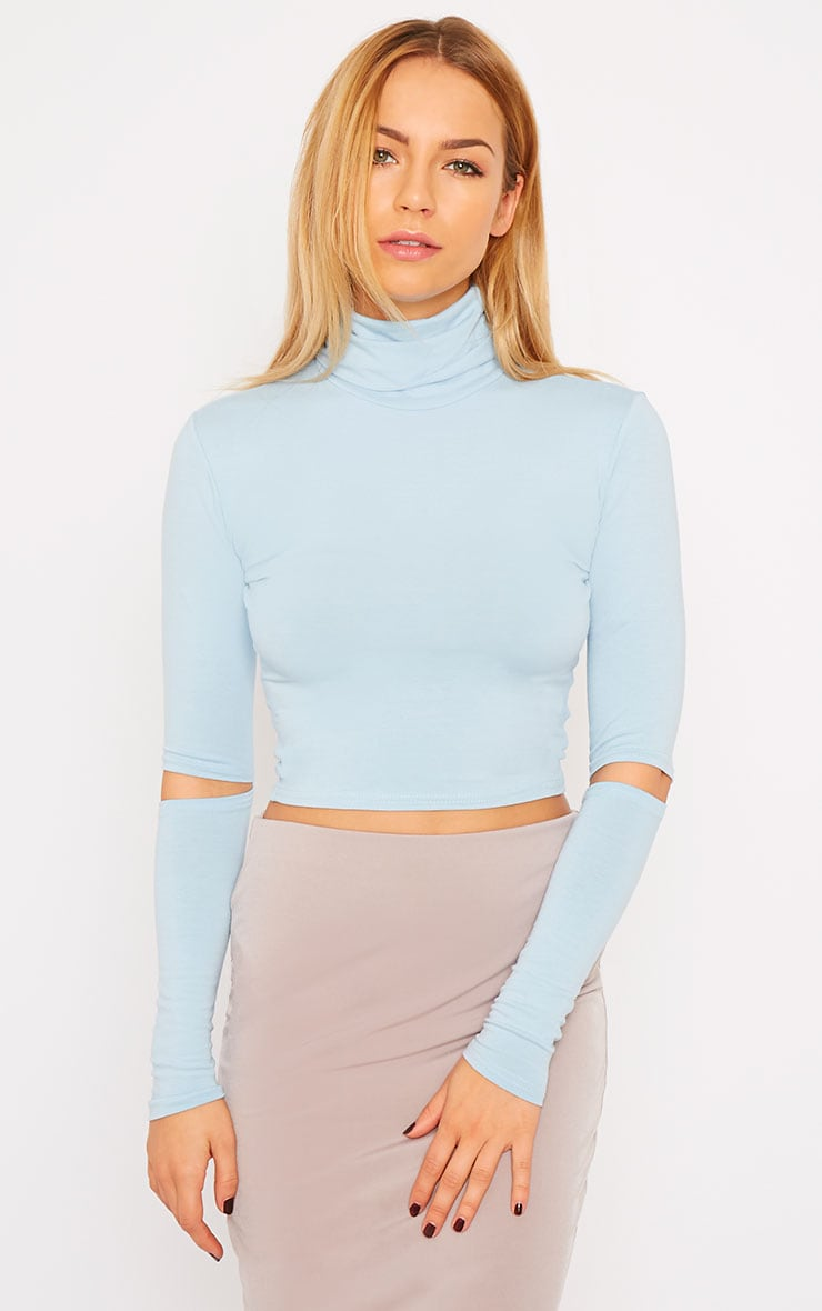 Clara Powder Blue Split Sleeve Roll Neck Crop Top 1