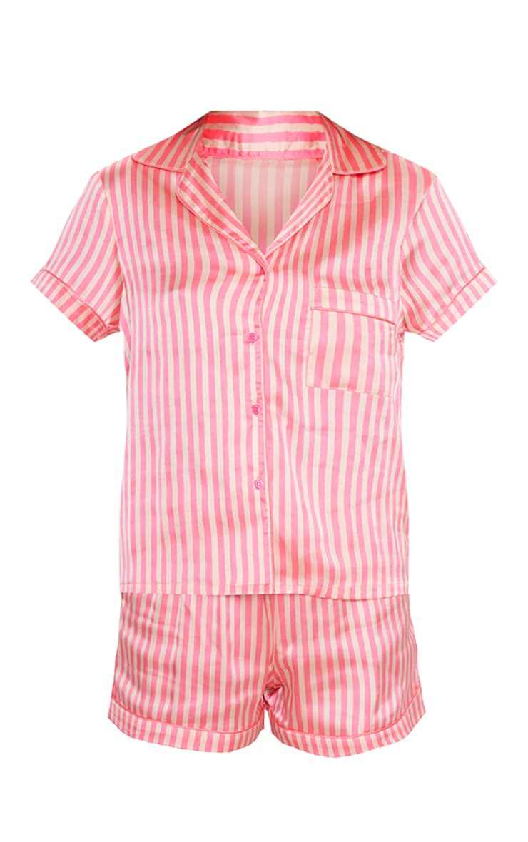 Pink Satin Stripe Button Up Short PJ Set 3