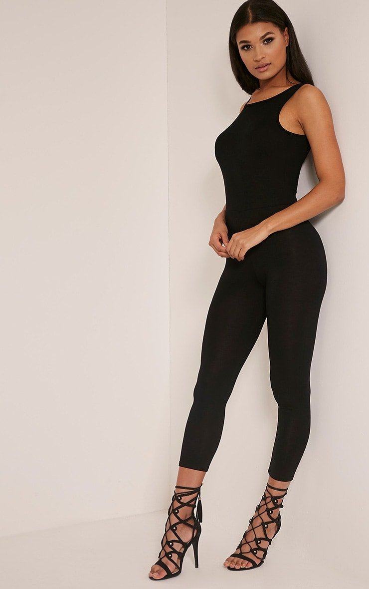 Katie Black Scoop Back Fitted Cropped Leg Jumpsuit 5