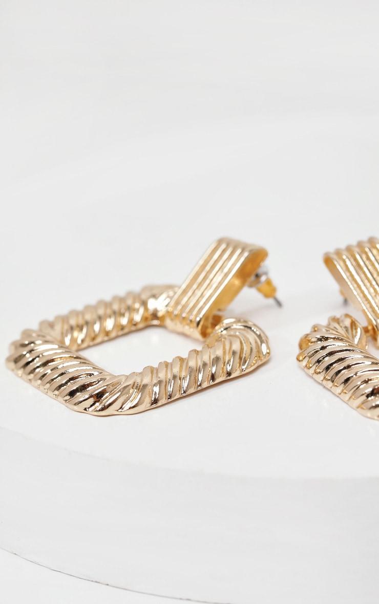 Gold Textured Square Medium Door Knocker Earrings 3