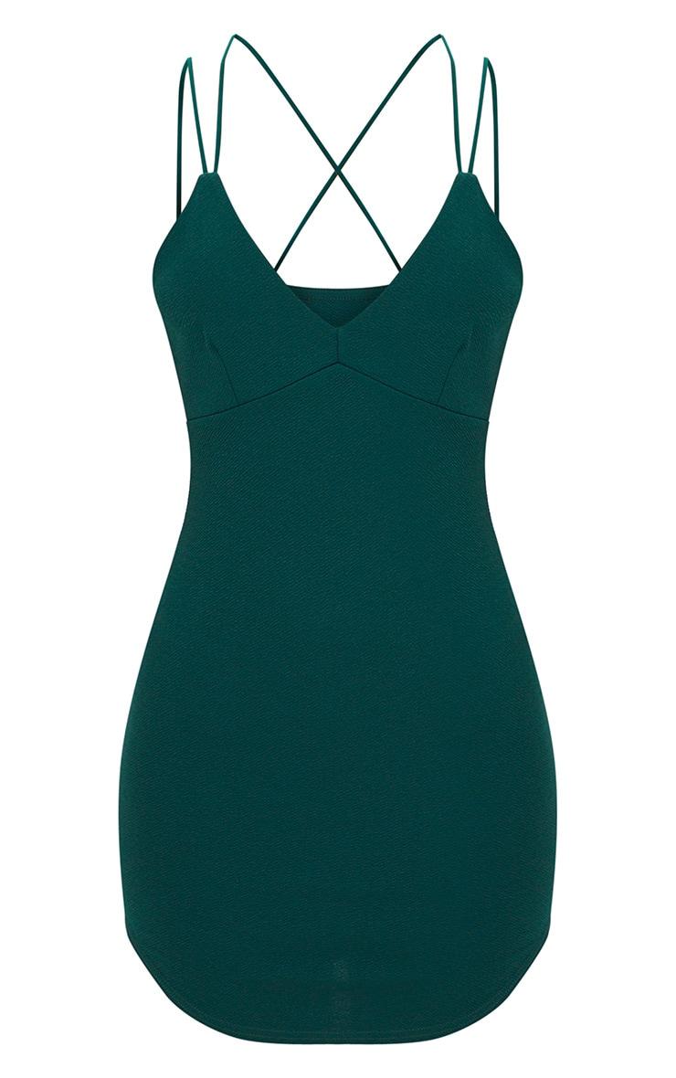Emerald Double Strap Cross Back Plunge Bodycon Dress 3