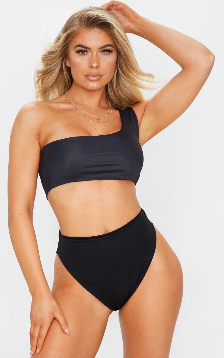 Black Mix & Match One Shoulder Bikini Top 1