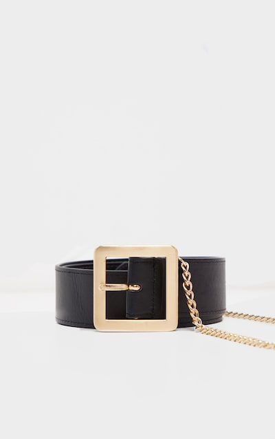 Black Belt With Gold Chain