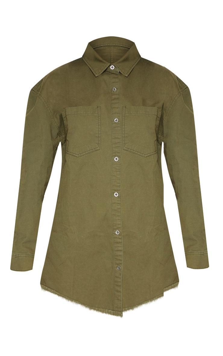 Khaki Frayed Hem Oversized Denim Shirt 3