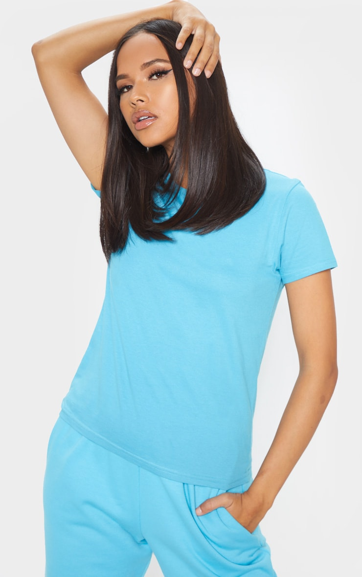 Baby Blue Fitted Short Sleeve T Shirt 1