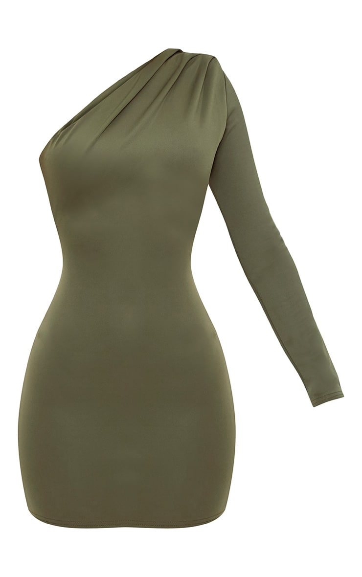 Khaki One Shoulder Ruched Bodycon Dress 3