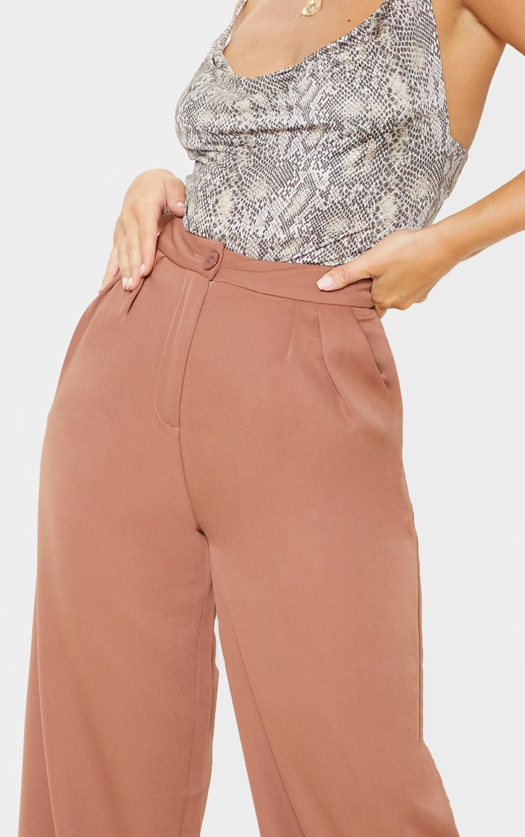 Taupe Woven Wide Leg Pants 6