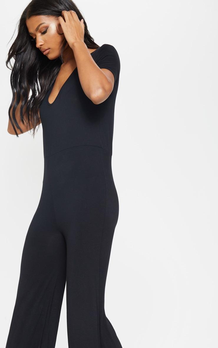 Black Jersey Wide Leg Jumpsuit 5