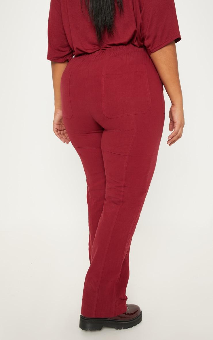 Plus Burgundy Pocket Detail Trousers 4