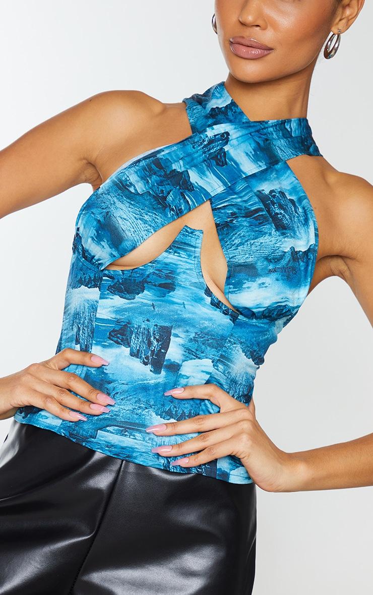 Teal Desert Landscape Print Woven Tie Dye Cross Over Zip Top 4