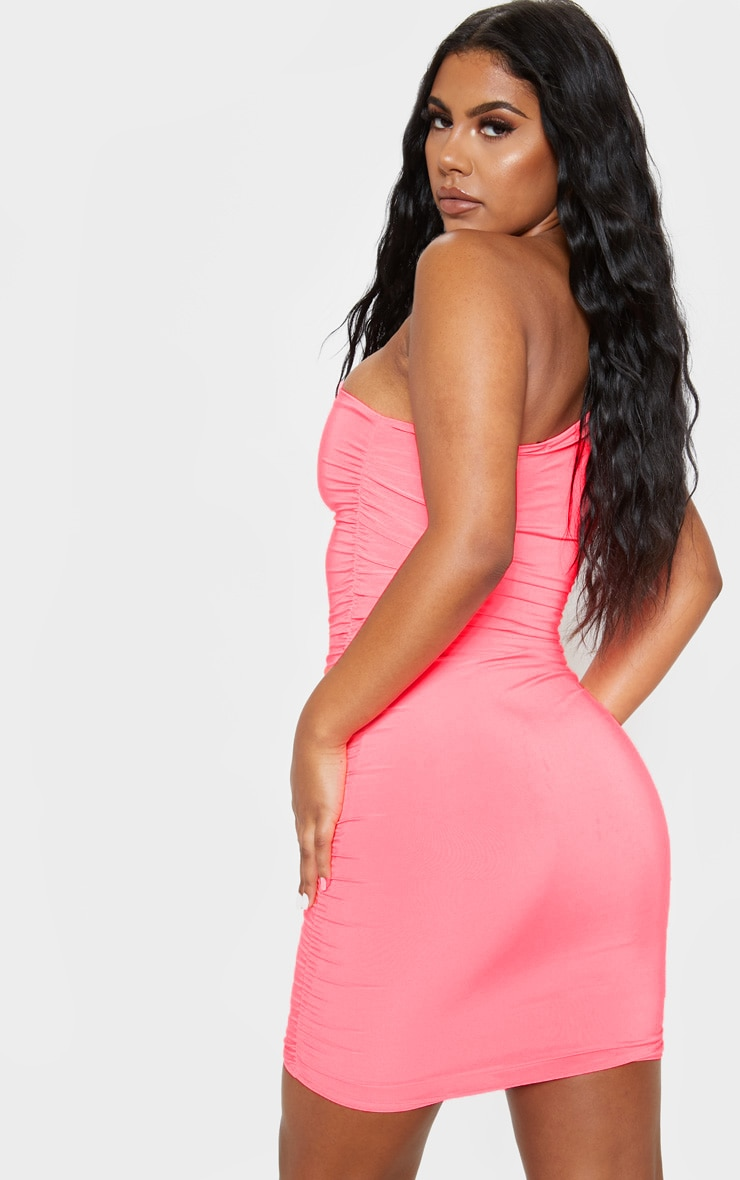 Neon Pink Slinky One Shoulder Ruched Bodycon Dress 2