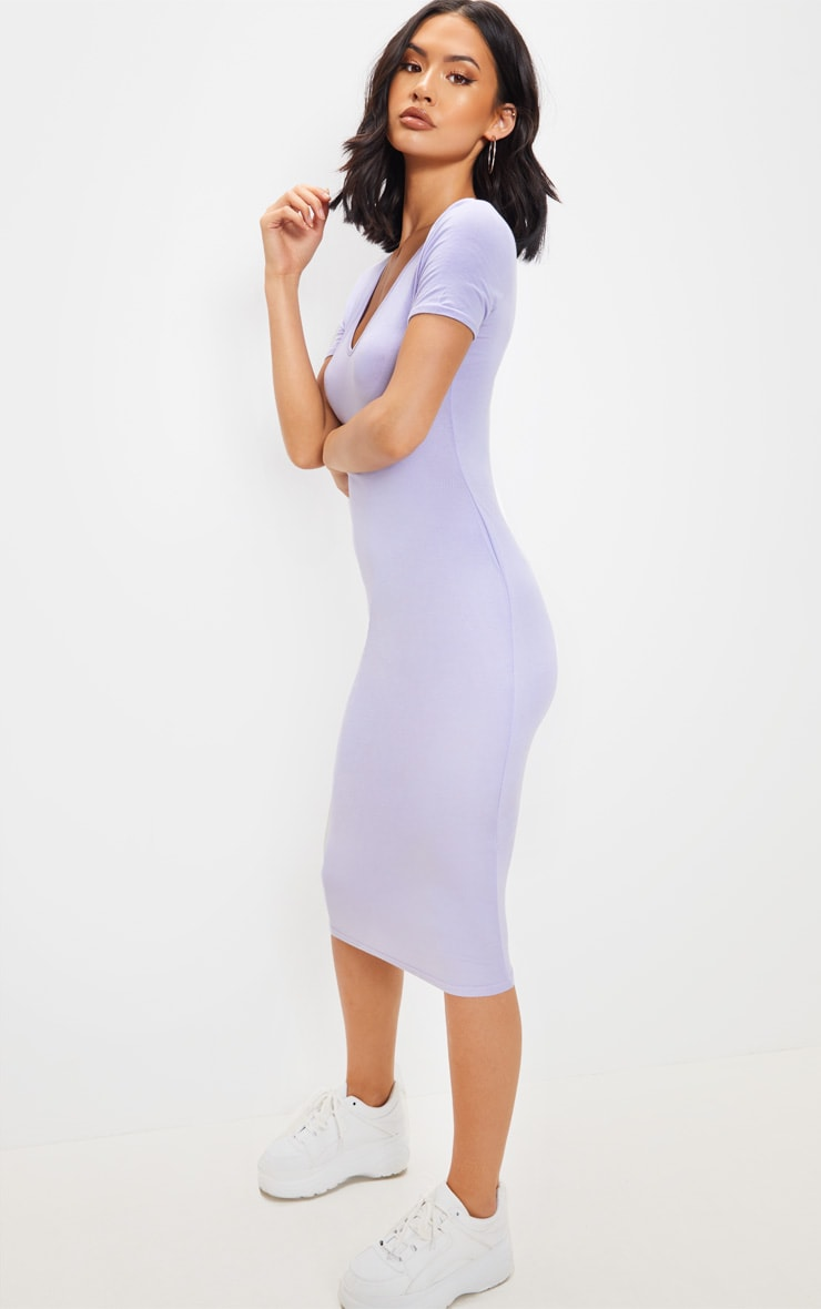 Lilac V Neck Midi Bodycon Dress 4