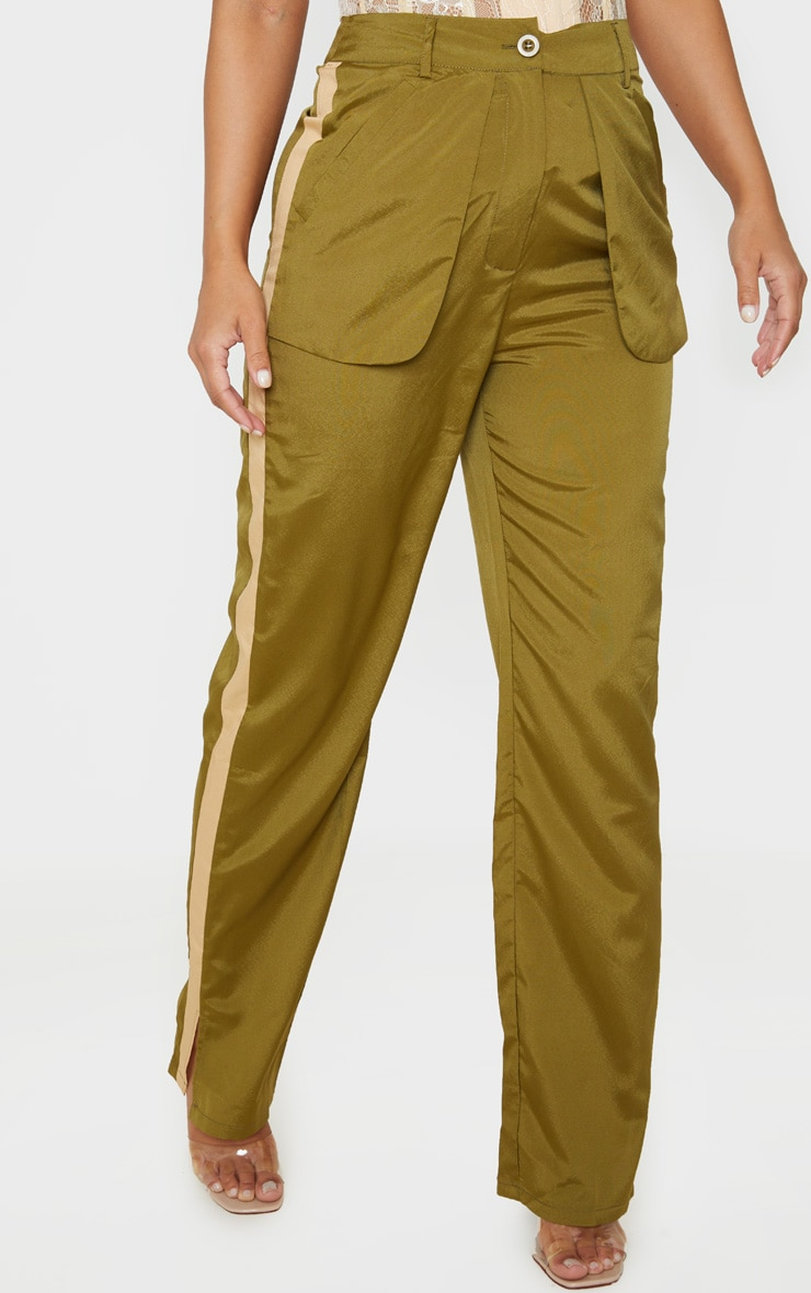 Petite Khaki Inside Out Pocket Trouser  2