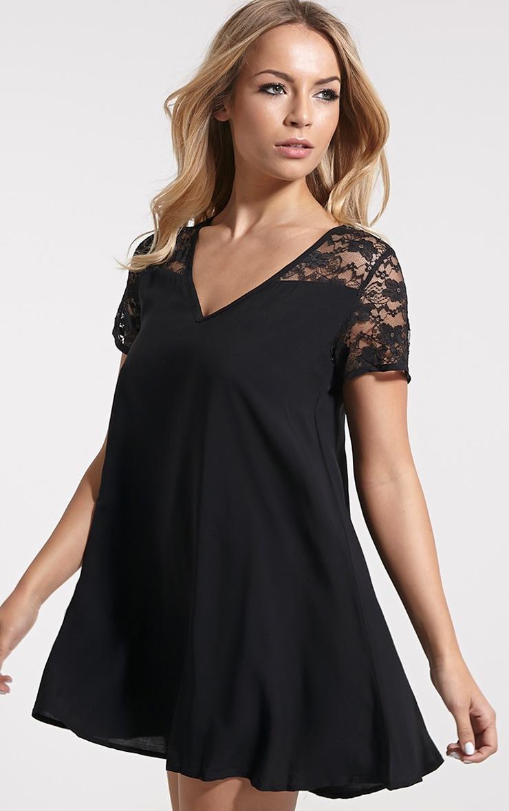 Uri Black Lace Detail Shift Dress 4