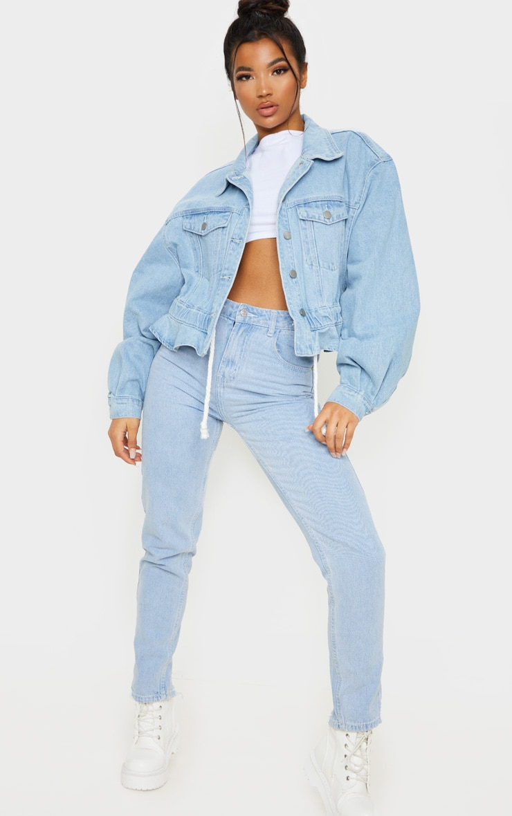 Light Blue Wash Rope Tie Hem Oversized Denim Jacket 4