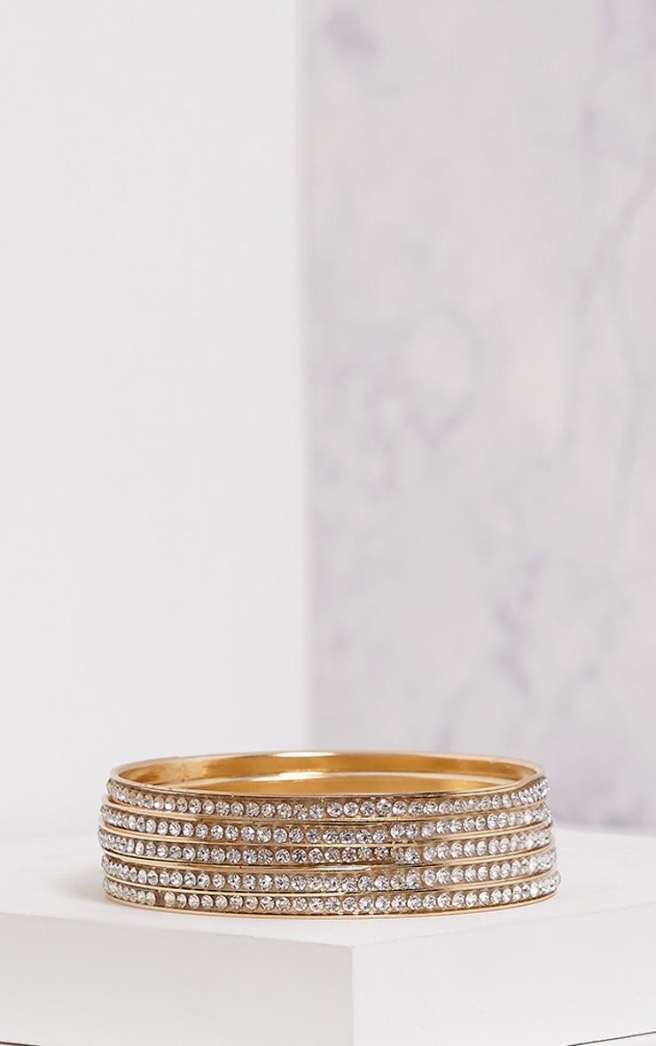 Lunett Gold Diamante Multi Pack Bangles 1