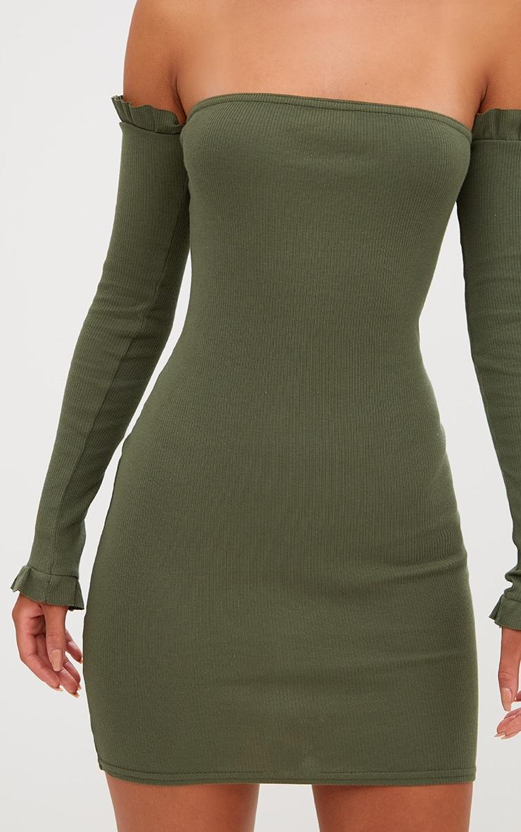 Khaki Ribbed Frill Bardot Bodycon Dress 5