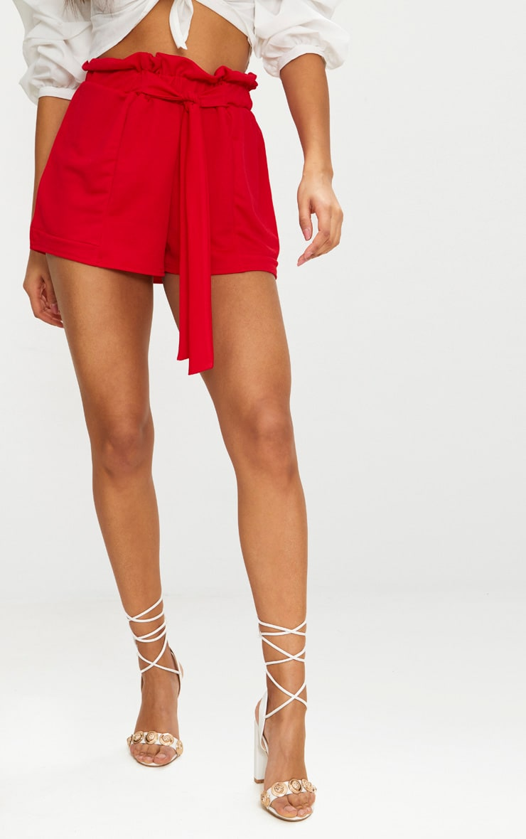 Red Crepe Ruched Tie Waist Shorts 2