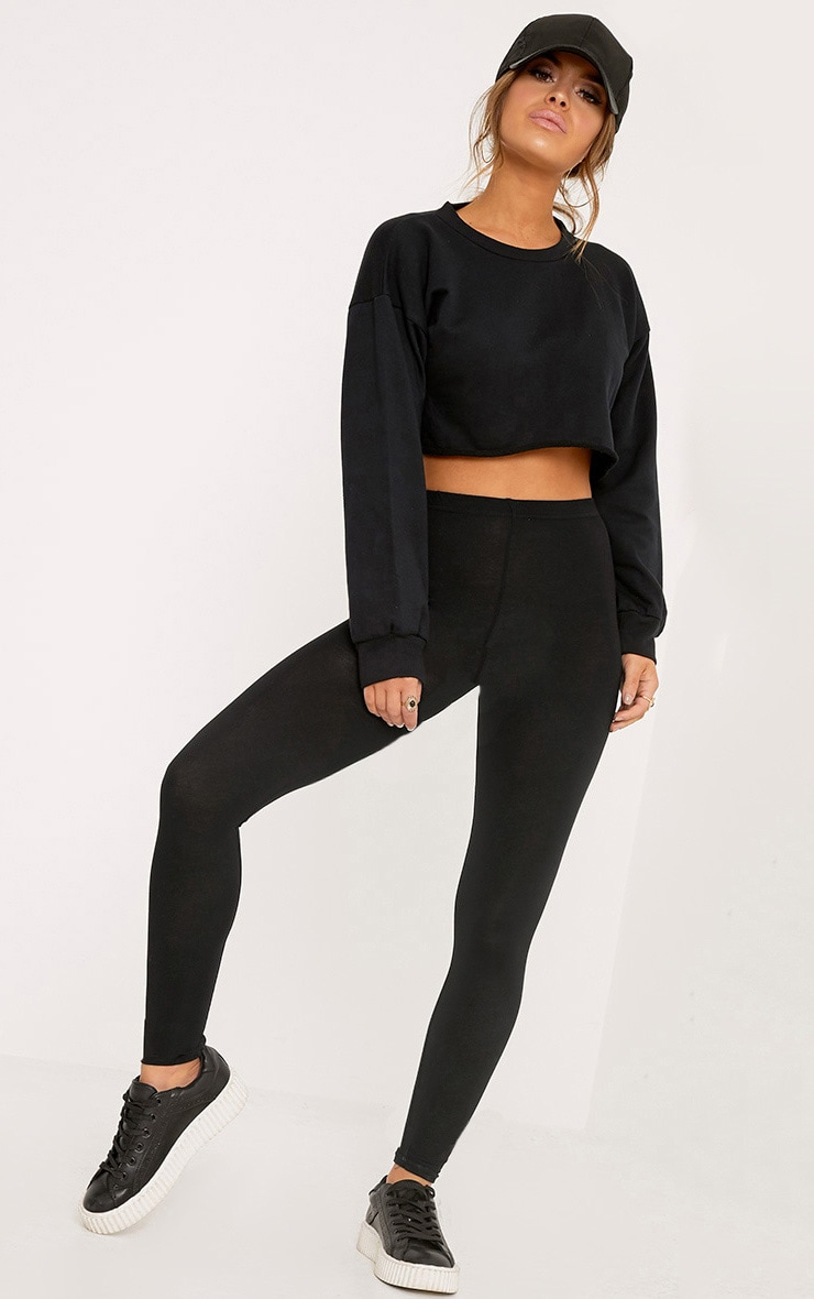 Petite Clarinda Black Basic Leggings 1