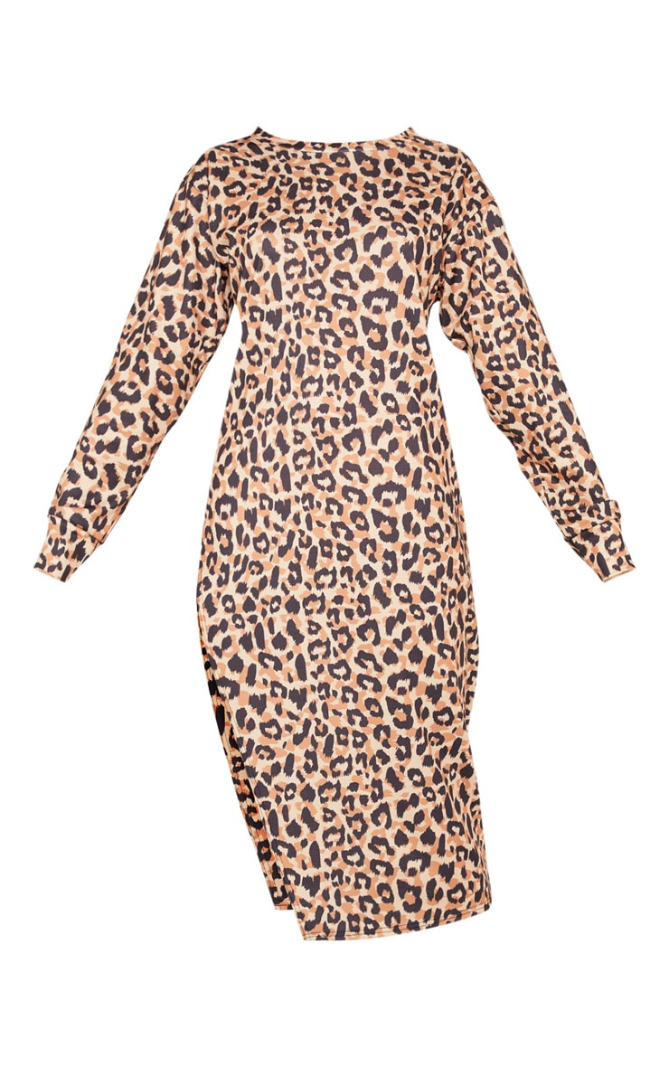 Brown Leopard Print Midi Jumper Dress 3