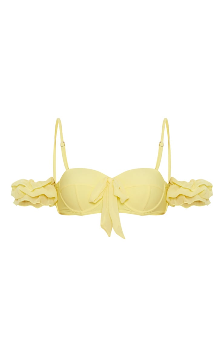 Lemon Bow Front Removable Sleeve Cupped Bikini Top 5