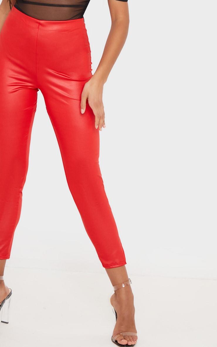 Red Wet Look Cropped Slit Hem Legging  4