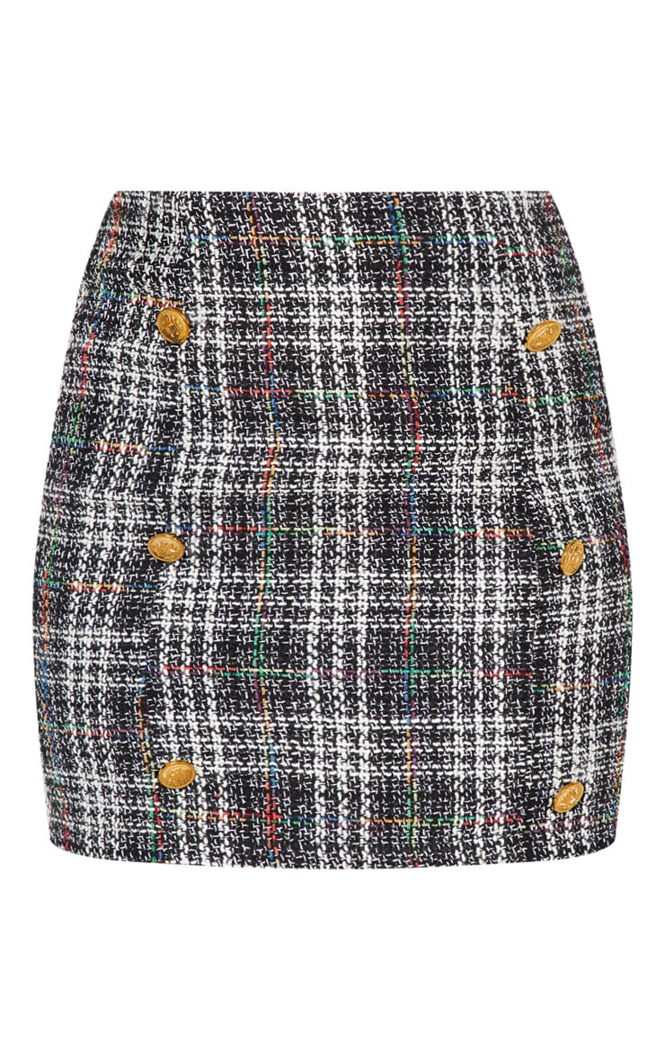 Black Tweed Button Detail Mini Skirt 3