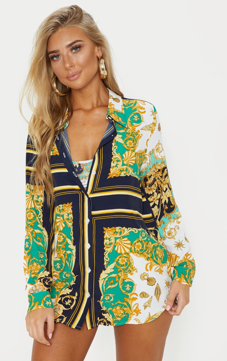 Green Shell Chain Print Beach Shirt 1