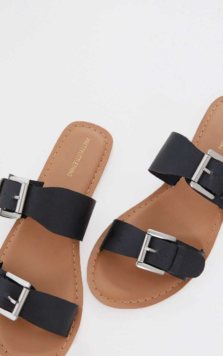 Black Real Leather Buckle Detail Double Strap Mule Sandals 4