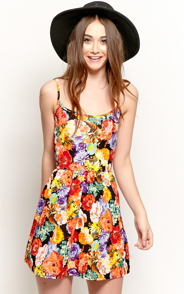Sara Orange Floral Skater Dress 1