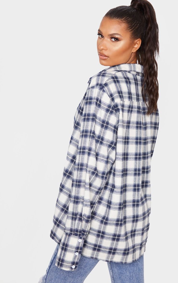 White Checked Oversized Shirt 2