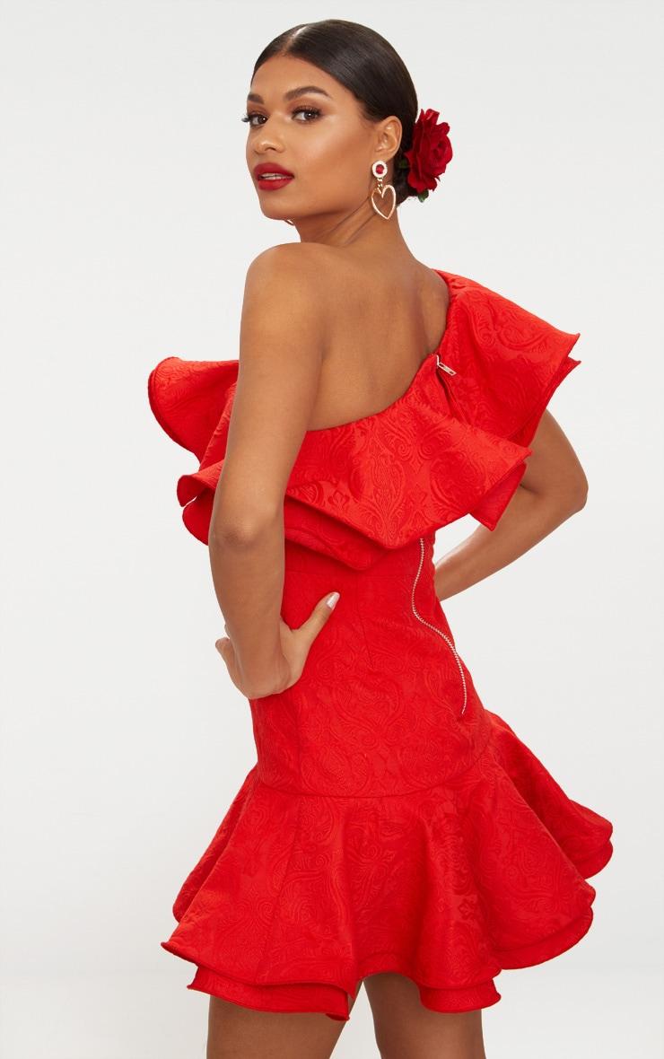 Red Jacquard One Shoulder Frill Drop Hem Dress 3
