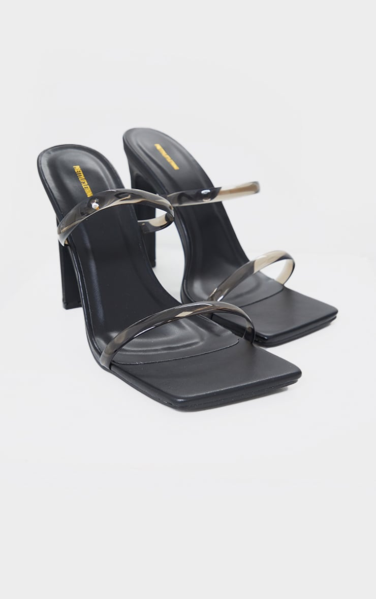 Black WIDE FIT Square Toe Clear Double Strap Flat Heeled Mules 3