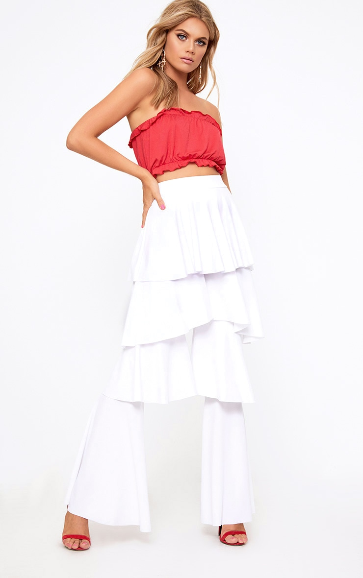 White Tiered Frill Wide Leg Trousers 1